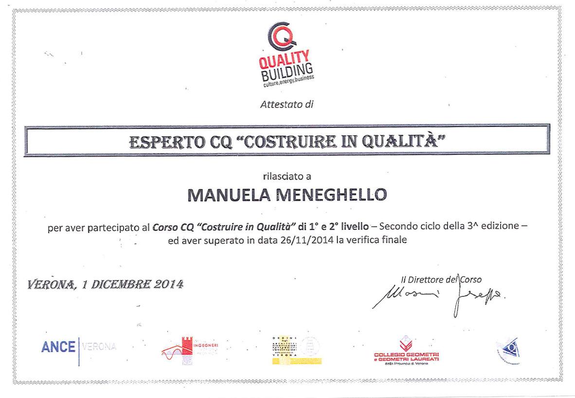 Costruzioni Tieni 1836 | Attestato Quality Building Manuela Meneghello