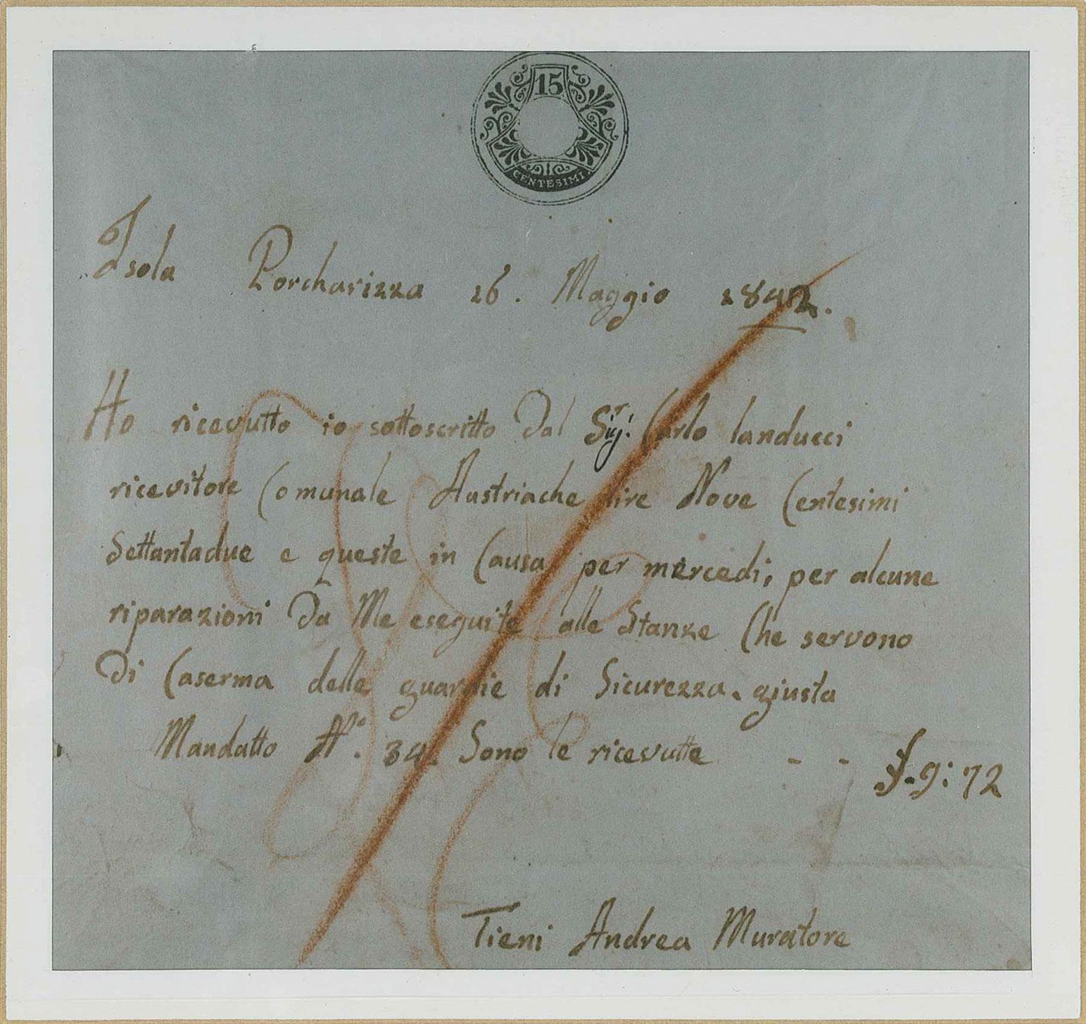 Costruzioni Tieni 1836 Srl | Ricevuta Tieni Andrea Muratore datata 1842