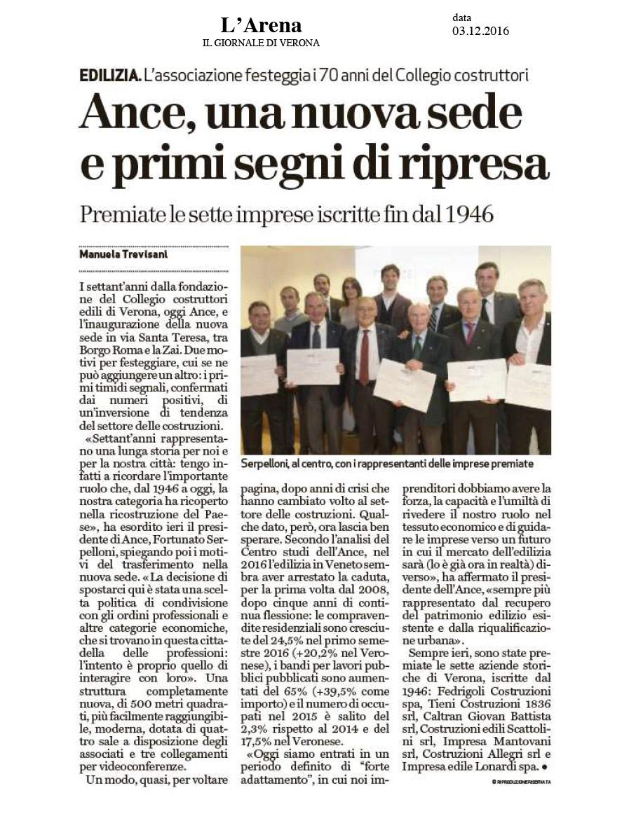 Impresa Tieni Costruzioni 1836 srl premiata in occasione dei 70 anni di ANCE Verona